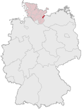 Map of Germany, Position of لوبک highlighted