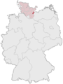 Map of Germany, Position of Lübeck highlighted