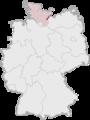 Tyskland, beliggenhed af Lübeck markeret