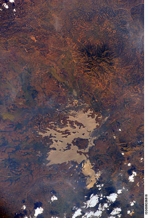 Noun River (Cameroon) - Bamendjing Reservoir with Mount Yahou in upper right, NASA 2003