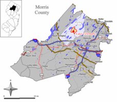 Map of Lake Telemark CDP in Morris County. Inset: Location of Morris County in New Jersey.