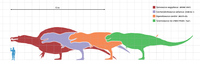 Size comparison of selected giant theropod dinosaurs, Tyrannosaurus in purple.