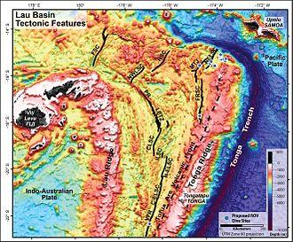 Tonga Trench - Image: Lau Basin NOAA Tectonic features hires