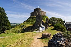 Launceston Castle - The eastern edge of the bailey, overlooking the remains of a D-shaped tower, the motte, keep and the High Tower