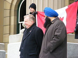 Laurie Hawn & Tim Uppall at the Anti-Coalition Rally 2008 Edmonton.jpg