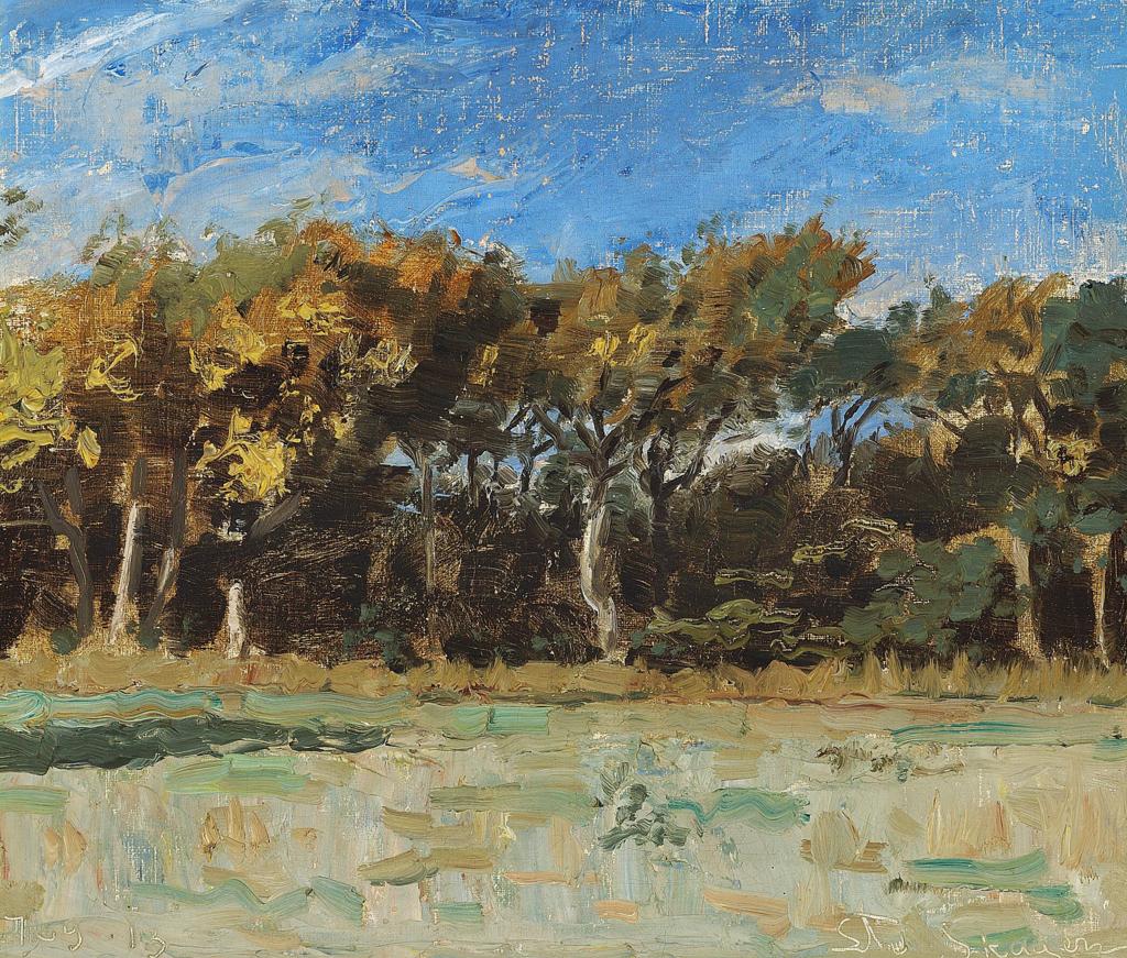 Laurits Tuxen - I udkanten af Skagen Plantage - 1913.png