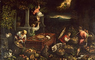 Leandro Bassano - Painting by Bassano, Allegory of the Element Earth, believed in the 16th century to be one of the four elements. The Walters Art Museum.