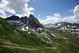 Lechquellen Mountains - View of the Untere Wildgrubenspitze, Roggalspitze and Rhonspitze