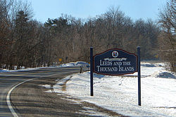 Welcome sign along Thousand Islands Parkway