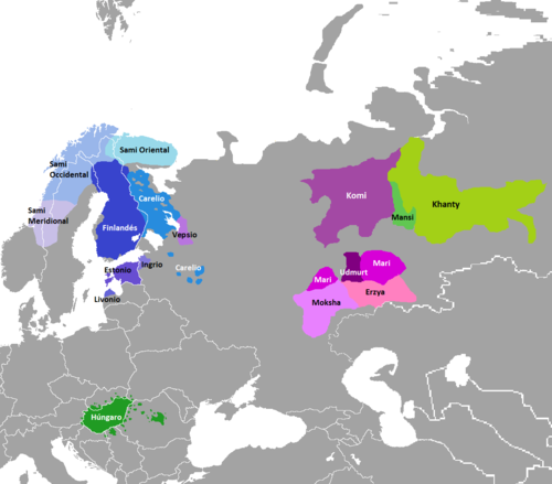 Map of Finno-Ugric languages