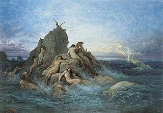 nymph presiding over oceans and seas