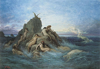 Pleione (star) - Depiction of Pleione as an Oceanid nymph. Painting from French artist Gustave Doré.