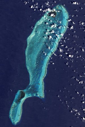 Great Blue Hole - Lighthouse Reef as seen from space. The Great Blue Hole is near the center of the photograph.