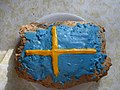 Limpa bread frosted in colors of Swedish flag.jpg