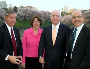 James P. Zumwalt - U.S. Senators Lindsey Graham, Amy Klobuchar, and John McCain with Chargé d'Affaires James Zumwalt, in Chiyoda Ward, Tōkyō, April 2009.