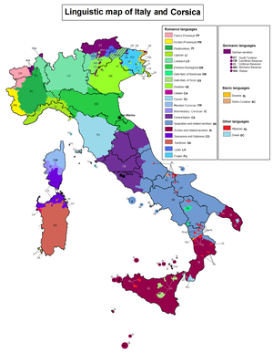 Gallo-Italic of Sicily - Linguistic map of Italy; Gallo-Italic of Sicily are the small, light-green areas on Sicily.