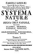 Première page du Systema Naturæ (1758)