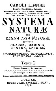<i>Systema Naturae</i> major work by Carolus Linnaeus