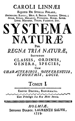 Title page of the 10th edition of Systema Naturae (1758) Linnaeus1758-title-page.jpg