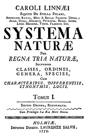 1758 in science - 10th edition of ''Systema Naturae''