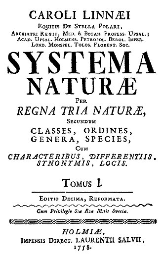 Systema Naturae - Title page of the 1758 edition of Linnaeus's Systema Naturæ.