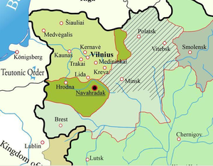 Kingdom of Lithuania - Green - Lithuania in 1251; Dark Green - territory annexed by 1263