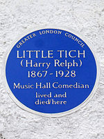 Little Tich (Harry Relph) 1867-1928 music hall comedian lived and died here.jpg