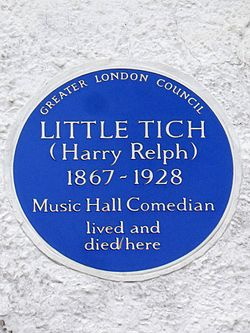 Little tich (harry relph) 1867 1928 music hall comedian lived and died here