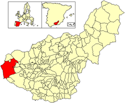 Location of Loja in the Province of Granada.