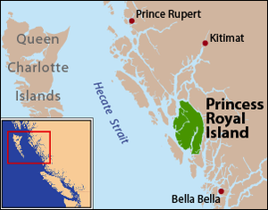 Princess Royal Island - Princess Royal Island is located on the Inside Passage to the east of Hecate Strait