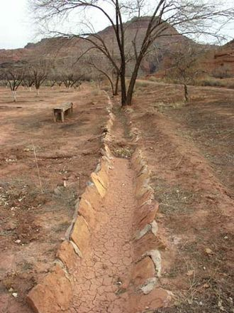 Lee's Ferry and Lonely Dell Ranch - Stone-lined irrigation ditches