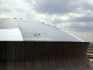 Mercedes-Benz Superdome - Contractors repair the roof to prepare for the reopening of the Superdome. (July 10, 2006)