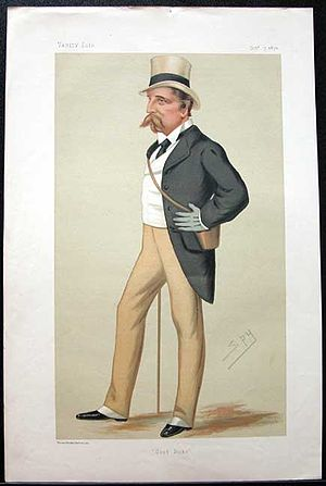 Lowry Cole, 4th Earl of Enniskillen - 'Good Looks'. Caricature of Lord Enniskillen by Spy, published in Vanity Fair in 1876.