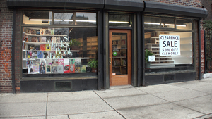St. Mark's Bookshop - St Marks Bookshop, showing the clearance sale in New York City