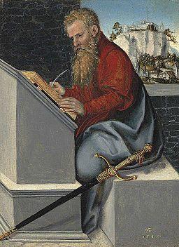 Lucas Cranach d.J. - Der heilige Paulus in seinem Studierzimmer