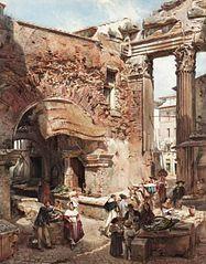 Scène de marché italianisante avec ruines romaines