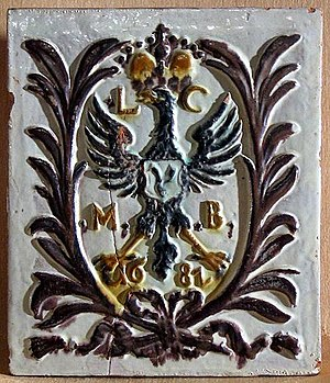 Ludwika Karolina Radziwiłł - A tile with the emblem and initials of Ludwika Karolina, Biržai Castle.
