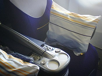 Business class seat in a Lufthansa Boeing 747-400