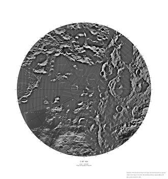 Lunar south pole - Lunar south polar region map.