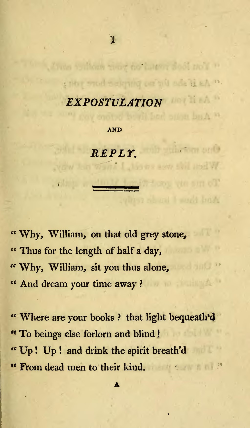 wordsworth expostulation and reply