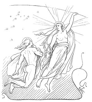 Monday - A depiction of Máni, the personified moon, and his sister Sól, the personified sun, from Norse mythology (1895) by Lorenz Frølich