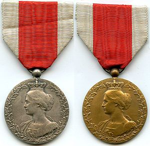 Comité National de Secours et d'Alimentation - Medals awarded to members of the CNSA after the war, depicting Queen Elisabeth.