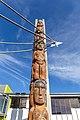 Māori sculpture in front of Te Puna Wānaka, Ara, Christchurch, New Zealand 03.jpg