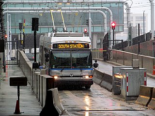 MBTA route SLW bus approaching World Trade Center station, March 2017.JPG