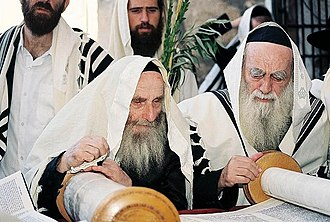 Haredi Judaism - Elderly Haredi Jewish men cantillate the Torah.