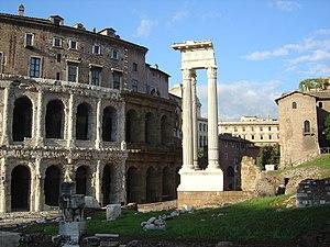 Temple of Apollo Sosianus - The Temple, with the Theatre (left).