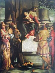 Madonna enthroned with child with saints