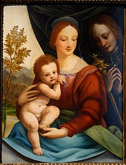 Madonna with Child and Saint, Italian school, first half of the 16th century, oil on wood - Museo Diocesano (Genoa) - DSC01789