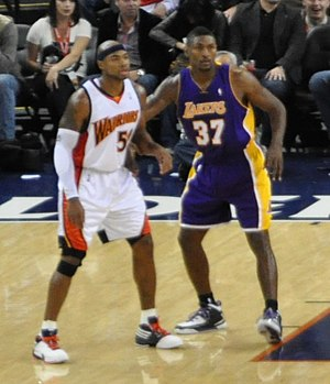 Metta World Peace - Artest with Corey Maggette of Golden State in 2009.