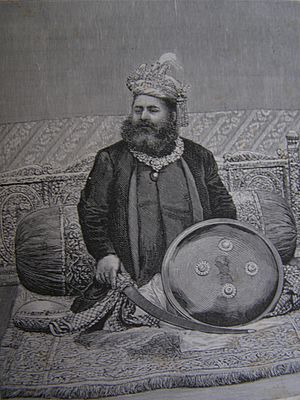 Lakshmeshwar Singh - Lithograph Print of Maharaja Lakshmeshwar Singh published in Graphic Magazine, December 1888